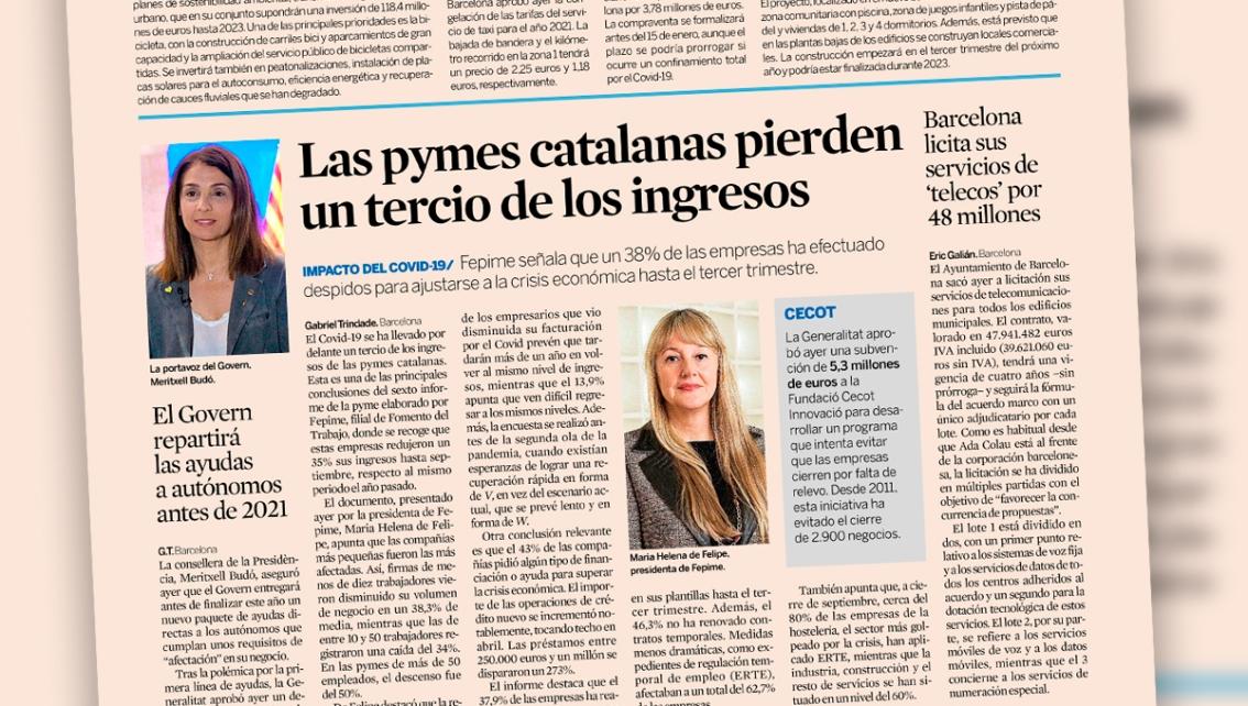 Las pymes catalanas pierden un tercio de losingresos