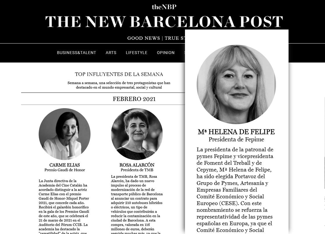 María Helena de Felipe en el Top semanal de personas influyentes del diario digitaltheNBP